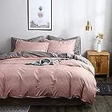 OLDBIAO Damen Bettwäsche-Set 200x220cm Bettbezug + 80x80cm Kissenbezüge Microfaser Bettdeckenbezug Kopfkissenbezug Grau Altrosa Doppelbett Bettwaren