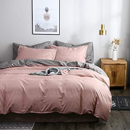 Juego de ropa de cama OLDBIAO gris Altrosa 220 x 240 cm con 2 fundas de almohada de 80 x 80 cm, color rosa