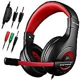 Audífonos para juegos, audífonos DLAND de 3,5 mm con aislamiento de ruido con cable Estéreo con micrófono para laptop, XBOX, PS4 y control de volumen (negro y rojo)