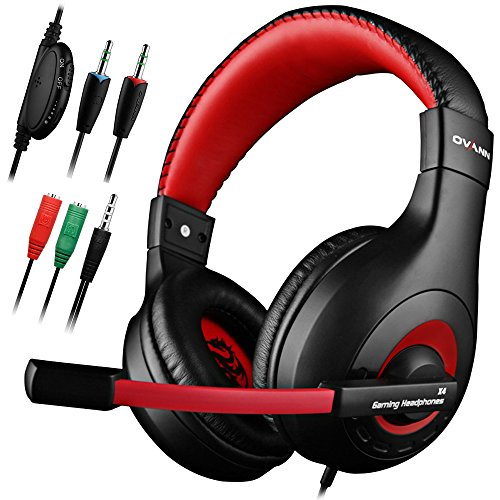 Gaming Headset,DLAND 3.5mm Wired Bass Stereo Noise Isolation Gaming Headphones for Online Gaming with Mic for Laptop Computer, Cellphone, PS4 and so on- Volume Control (Black and Red) Accessories Headsets