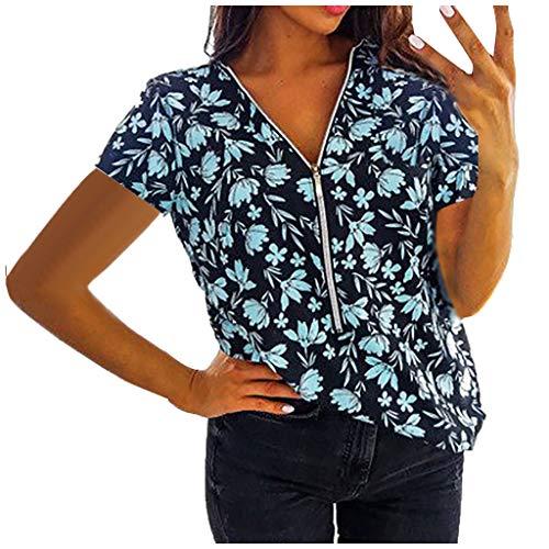 Camisetas de manga corta mujer,Las señoras de las mujeres más el tamaño de la cremallera de la impresión de la manga corta del jersey con cuello en v rematan la camisa camisetas, tops y blusas YANFANG