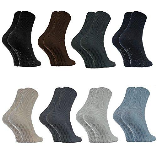 Rainbow Socks - Damen Herren Antirutsch Diabetiker Socken Ohne Gummibund ABS - 8 Paar - Klassische Farben - Größen EU 44-46