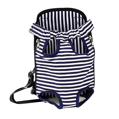 Legs Out Front Pet Dog Cat Carrier Ventilation Travel Backpack, Adjustable Hands-Free Backpack Travel Bag,Small Medium Dog Puppy Cat Outdoor (Blue, L)