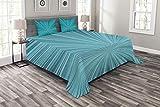 ABAKUHAUS Teal Tagesdecke Set, Abstract Vortex Entwurf, Set mit Kissenbezügen luftdurchlässig, für Doppelbetten 264 x 220 cm, Türkis Teal