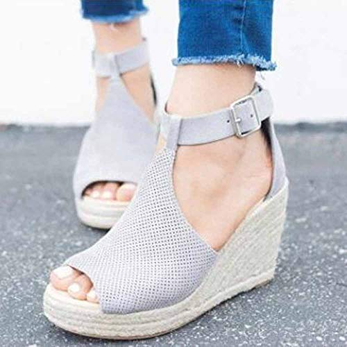 Dames sandalen Summer wig hak Plateau espadrilles leer kant open gesp 8 cm hiel platte vakantie grijs 2019