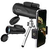 MoKo 12x50 Telescopios Monoculares, Alta Potencia Prisma BAK4 HD Impermeable a Prueba de Niebla y de Choques con Soporte para iPhone XS/XS MAX/XR para Observación de Aves Senderismo Viajes Caza-Negro