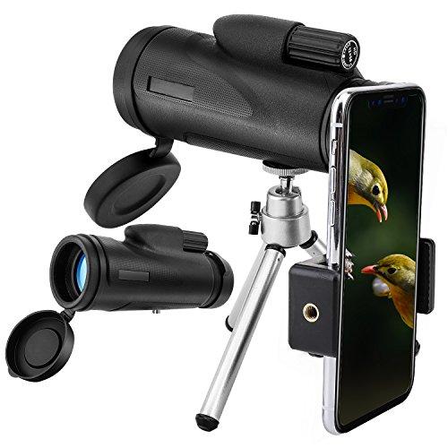 MoKo 12X50 Monokular Teleskop für iPhone XS/XS Max/XR– HD Monokular Fernglas Hochleistungsteleskop mit mobilem Adapter Stativ, Wasserdicht Stoßfest, für Reisen, Camping, Vogelbeobachtung, Schwarz
