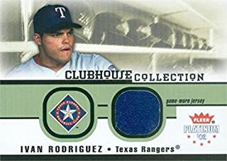 Autograph Warehouse 343264 Ivan Rodriguez Baseball Card Player Worn Jersey Patch - Texas Rangers 2002 Fleer Platinum Clubhouse Collection