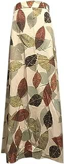 Zlolia Floral Print Bohemian Skirt for Women Belt High Waist Plain Chiffon Midi Swing Skirt for Everyday Party Work