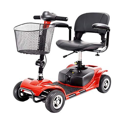 4 wieltjes reiscooter voor volwassenen, zware duty/lang range/rood