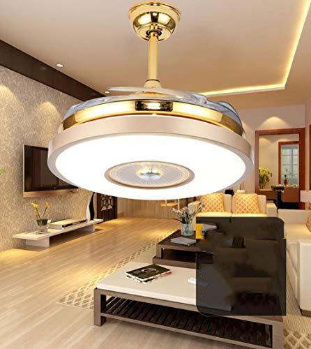 Ventilador de techo de música bluetooth de moda LED de cobre puro mudo comedor dormitorio viento fuerte lámpara de ventilador invisible