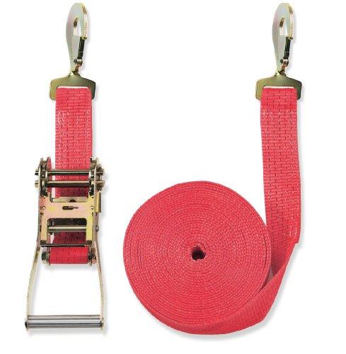 Braun spanband 5000 daN, tweedelig, voor professionals volgens DIN EN 12195-2, kleur rood, 8 m lengte, 50 mm breed, met ratel en gedraaide karabijnhaak