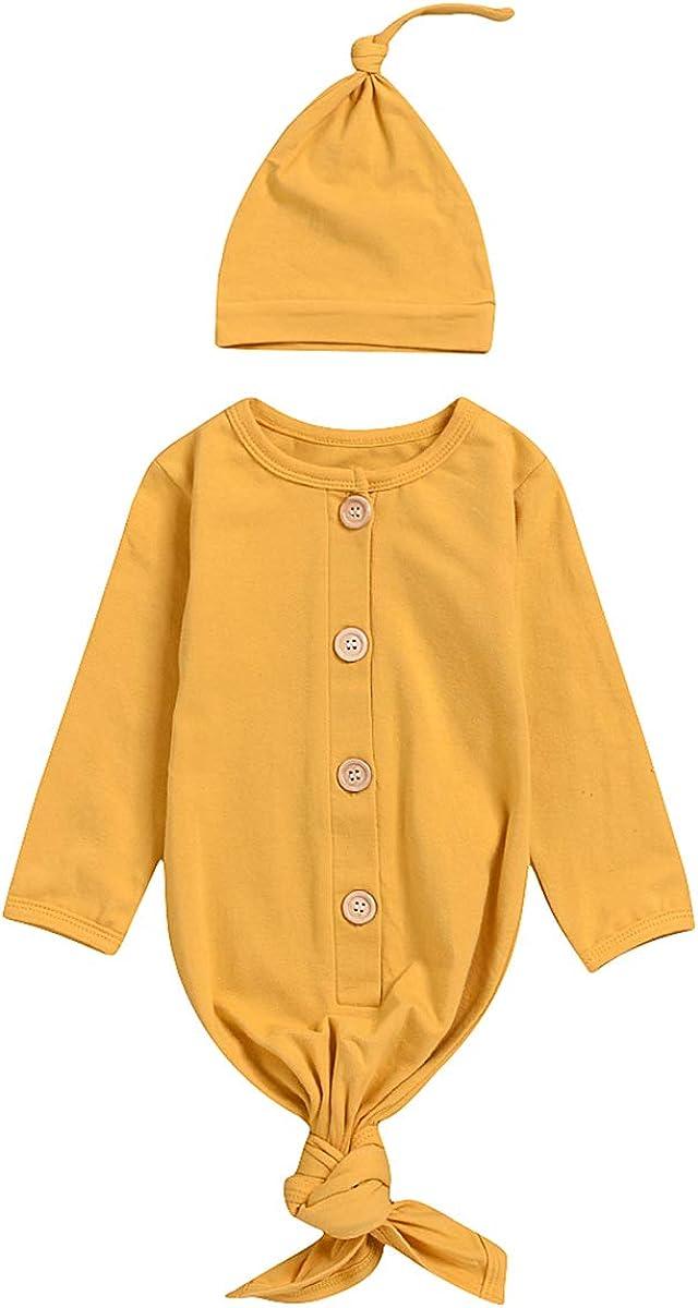 Camidy Newborn Baby Girl Night Gowns Long Sleeve Cotton Sleeping Robe Bag Pajamas + Hat
