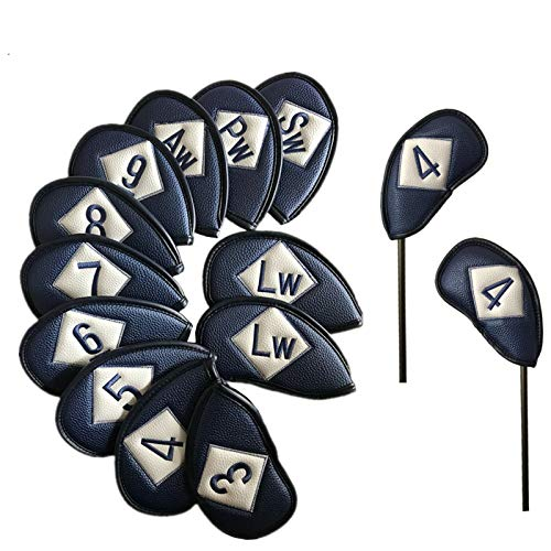 FINGER TEN Golf Headcover Schlägerhaube Eisen Einstellen 12 Stück 3 4 5 6 7 8 9 Lw Pw Sw Aw Für Linkshänder und Rechtshänder,Kunstleder Golf Eisen deckt Deluxe Farbe Schwarz Blau Rot