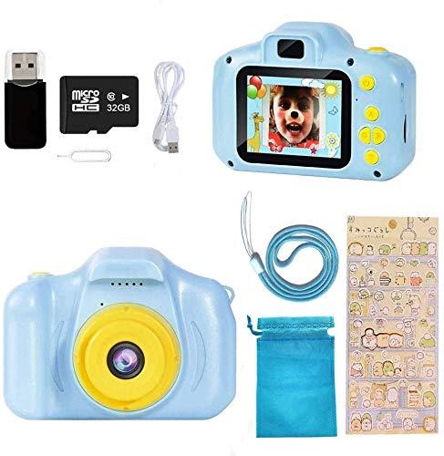 Ibello Cámara digital para niños, juguete 1080P, pantalla HD de 2 pulgadas, 32 GB, tarjeta TF de 2 a 12 años, sistema alemán, modos de foto, juegos, música, niños y niñas, regalo (azul y amarillo)