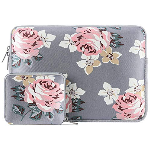 MOSISO Laptop Sleeve Compatible with MacBook Pro 15 inch A1990 A1707, 15 Surface Laptop 4/3, 2020 Dell XPS 15, ThinkPad X1 Yoga (1-4th Gen), Neoprene Rose Bag Cover with Small Case, Gray