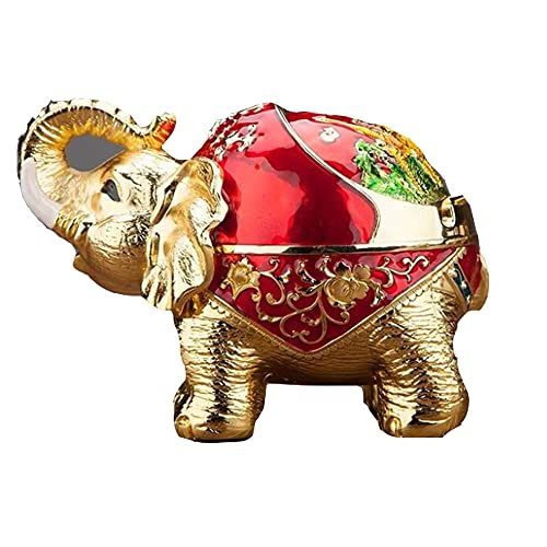 FGWE Cenicero de Metal de Elefante auspioso Creativo, decoración Artesanal de Mesa de té, cenicero a Prueba de Viento con Tapa (16 cm * 10.5cm * 9cm),A