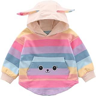 Timall Toddler Baby Girl Colorful Stripe Hoodie Infant Kangaroo Pocket Hooded Long Sleeve Sweatshirt