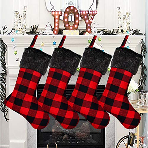 Senneny Christmas Stockings- 4 Pack 18' Buffalo Plaid Christmas Stockings with Plush Faux Fur Cuff, Classic Large Christmas Stockings Decorations for Family Christmas Holiday Party (Red and Black)