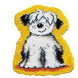 GUARDUU Latch Hook Craft Kit de alfombras Haciendo Manualidades Cojín de cojín Alfombra Sin terminar Kits de Hilo de Ganchillo DIY con patrón de Lienzo Impreso, Perro,C