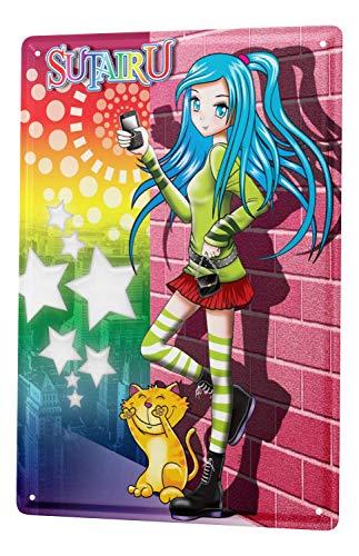 LEotiE SINCE 2004 Plaque en Métal Métallique Poster Mural tin Sign Cartoon Art Amusant Manga Japon Sutairu Chat Metal Plates 20X30 cm