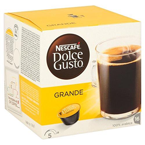 ESCAFÉ Dolce Gusto Grande Kaffee, 16 Kaffeekapseln (100% Arabica Bohnen, Feine Crema und kräftiges Aroma, Schnelle Zubereitung, Aromaversiegelte Kapseln) 1er Pack (1 x 16 Kapseln)