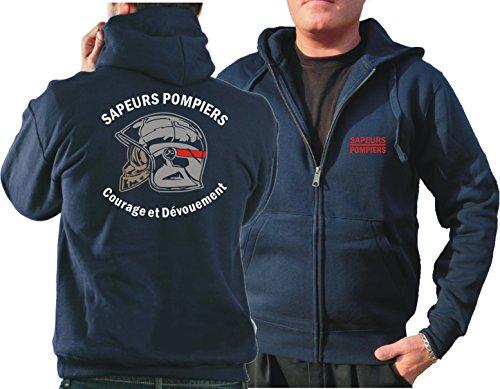 Feuer1 Sweat à Capuche (Navy/Bleu Marine) Sapeurs Pompiers Casque - Courage et Dévouement - Marque Rouge S