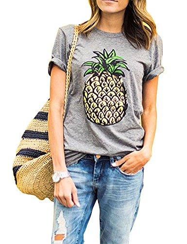 Haola Women's Summer Street Printed Tops Funny Juniors T Shirt Short Sleeve Tees Grey2 XXL