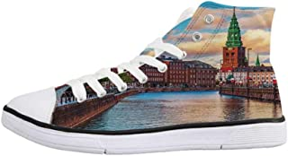 Cityscape Stylish High Top Canvas Shoes,Scenic Old Town Tallinn Estonia Ancient European Cathedral Architecture Home Decor for Men & Boys,US 6.5