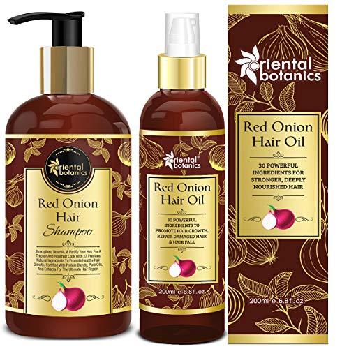 Oriental Botanics Onion Hair Care Combo   Red Onion Hair Shampoo + Red Onion Hair Oil