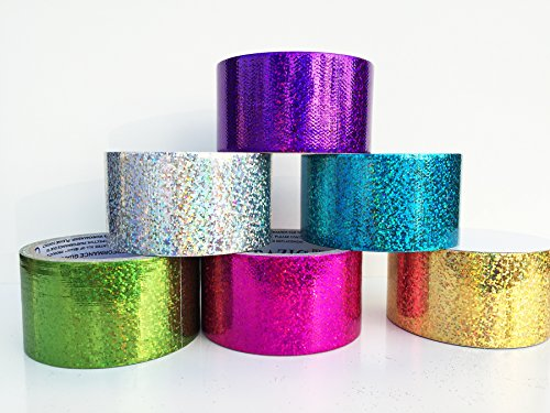 Fun and Beyond 6 Rolls Variety Assorted Color Pack 1.88 Sparkle Holographic All Purpose Duct Tape, Decorative, Packaging Art and Craft Ect.