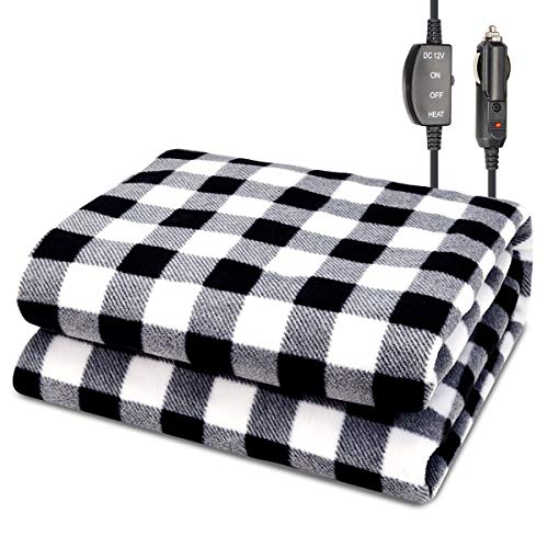JoyTutus Car Heated Blanket, 12V Fleece Electric Car Blanket, Emergency Heating Throw Blanket Plugs in Cigarette Lighter, Heated Travel Blanket Warm Safe Winter for Car Vehicle SUV RV, 59
