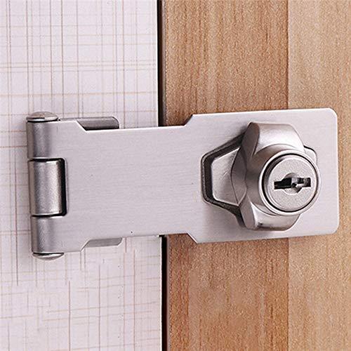 DINGCHI Pasador giratorio con cerrojo de bloqueo con llave para puertas pequeñas, gabinetes y más, Acero, cerrojo con cerrojo Cerrado en cromado, cerrojo metálico
