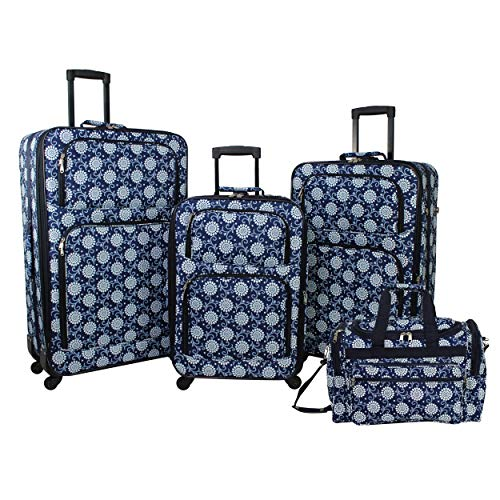 World Traveler 4-Piece Rolling Expandable Spinner Luggage Set-Navy Vines Floral
