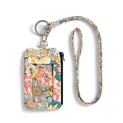 Zip ID Case Lanyard Wallet, Fashion Lanyard with ID Holder, Signature Cotton Purse with Lanyard
