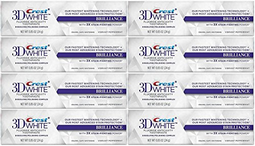 Crest 3D White Brilliance Whitening Toothpaste, Vibrant Peppermint, Travel Size, TSA Approved, 0.85 Ounce (Pack of 8)