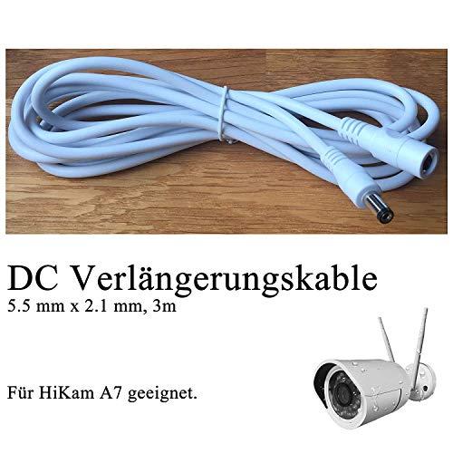 HiKam+: HiKam A7 DC Verlängerungskabel 5.5 mm x 2.1 mm 3m (Standard DC-Stecker Hohlstecker) …