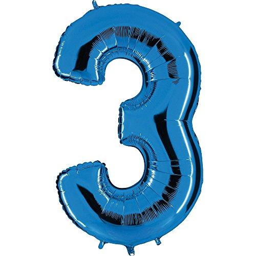 Ballon Zahl in Blau - XXL Riesenzahl 100cm - für Geburtstag Jubiläum & Co - Neun - Party Geschenk Dekoration Folienballon Luftballon Happy Birthday (Zahl 3)