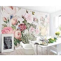 xueshao カスタム壁紙壁画ヨーロッパレトロ手描き植物花寝室ベッドサイド壁画背景壁3D壁紙-120X100Cm