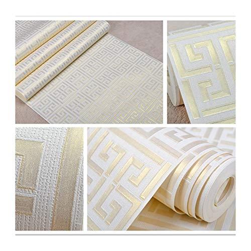 YZZ Patrón de Llave Griego de Oro Blanco Papel Pintado Blanco Moderno Geométrico Metálico Vinilo Papel Pintado Plata, Oro Rosa, Color del Café