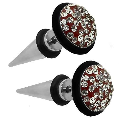 tumundo 2 Fakeplugs Pendientes Aretes 12mm Acero Strass Glitter Piercing Falso Túnel Oreja Rojo Espiga Punta Dilatador