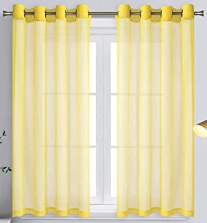 WPM Yellow Sheer Window Curtain Panels for Bedroom, Kitchen, Kids Room- Solid Semi Voile Drapes Grommet Living Room Panel...
