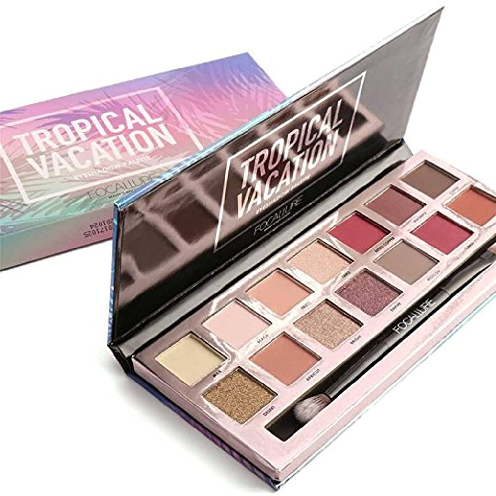クラシック選挙住む14 Colors Eyeshadow Palette Matte Glitter Shimmer Tropical Vacation Eyeshadow Palette with Brush 14色のマット?グリッター?シマーTropical Vocationアイシャドウパレット(ブラシ付き)