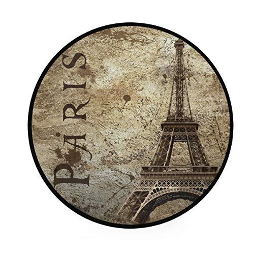Alfombra Paris Vintage Torre Eiffel Alfombras Antideslizantes para Sala de Estar Hogar Dormitorio Felpudos Decorativos Alfombra de Piso
