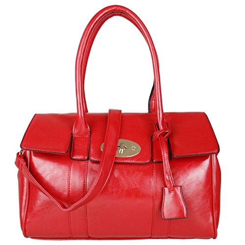 Miss Lulu - Borsa da spalla in ecopelle, alla moda, chiusura con girello, Rosso (Red), Medium