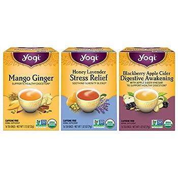 Yogi Tea - Iced Tea Variety Pack Sampler  3 Pack  - Mango Ginger Honey Lavender Stress Relief and Blackberry Apple Cider Digestive Awakening - Caffeine Free - 48 Organic Herbal Tea Bags