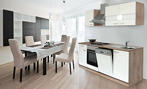 Respekta KB220ESW - Cucina componibile americana, in rovere sonoma grezzo, 220 cm, colore: Bianco