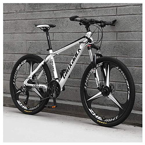 Sport all'Aria Aperta 26'Mountain Bike Pieghevole da 30' a Sospensione Anteriore Bicicletta da Uomo o Donna MTB Telaio in Acciaio ad Alto tenore di Carbonio con Doppio Freno a Olio, Bianco