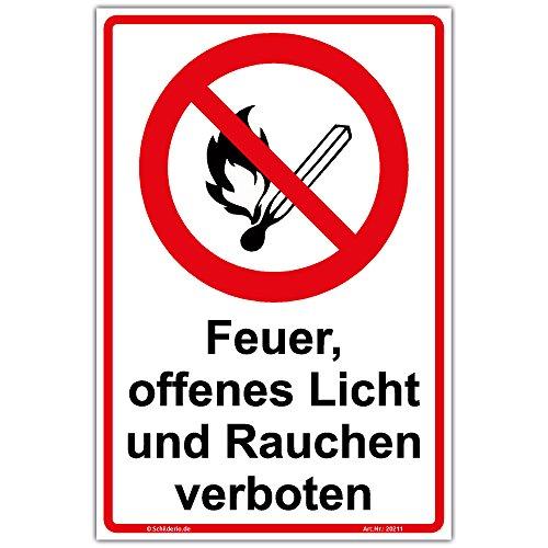 """Schild\""""Feuer, offenes Licht und Rauchen verboten\"""" Hinweisschild 300x200 mm Hochformat, stabile Aluminiumverbundplatte 3mm stark"""