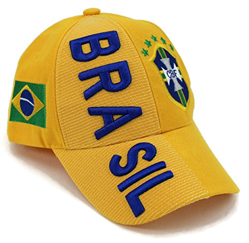 High End Hats Nations of South America Hat Collection Embroidered Adjustable Baseball Cap, Brazil/Brasil with CBF Logo, Yellow